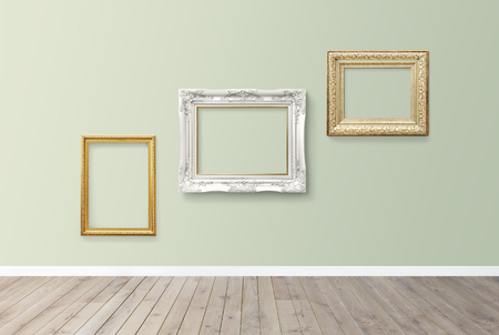 Luxurious baroque frame mockups on a wall