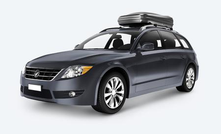 Side view of a gray SUV in 3D Foto de archivo