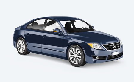 Side view of a blue sedan in 3D Stock Photo