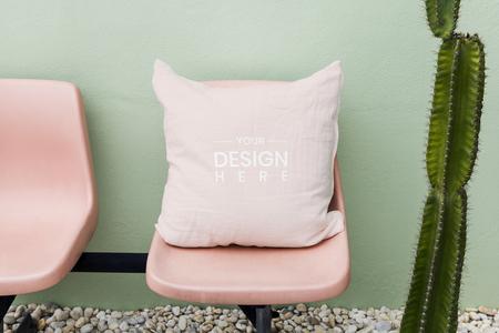 Pink cushion mockup feminine style