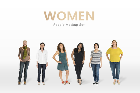 Cheerful diverse women character mockups set