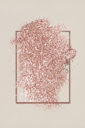 Pink gold glitter with a brownish red rhombus frame on a beige background illustration