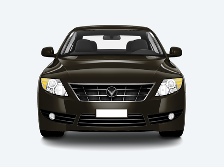 Front view of a black sedan in 3D Stockfoto
