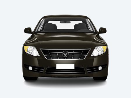 Vorderansicht einer schwarzen Limousine in 3D Standard-Bild