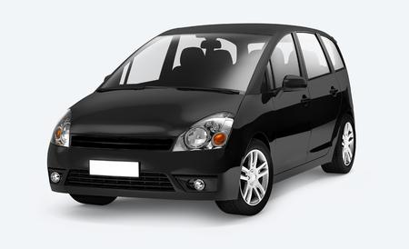 Side view of a black minivan in 3D