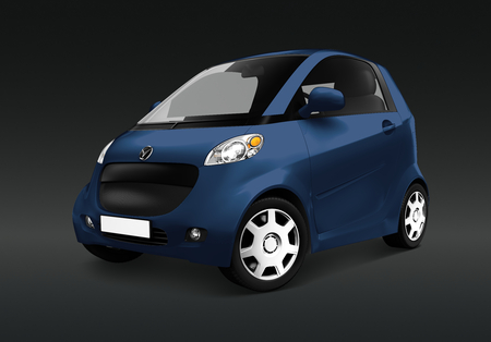 Side view of a blue microcar  in 3D
