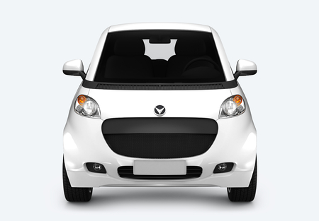Front view of a white microcar in 3D
