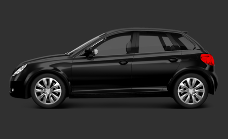 Side view of a black hatchback in 3D Stock Photo
