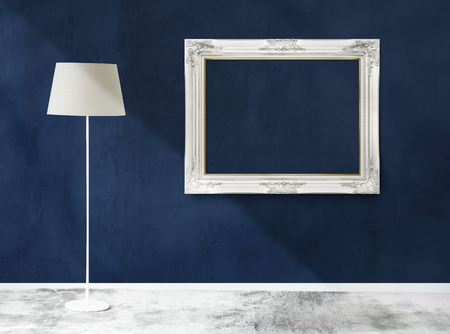 Frame mockup in a room with a lamp Stock Photo