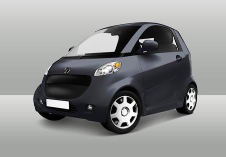 Side view of a gray microcar in 3D