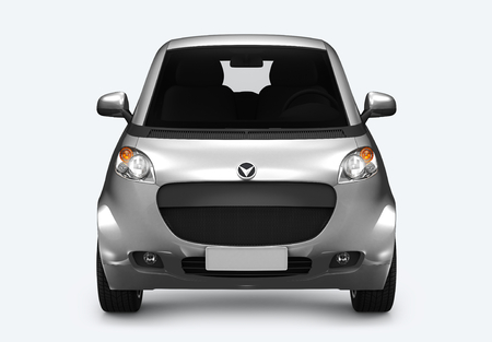 Front view of a silver microcar in 3D Stock Photo