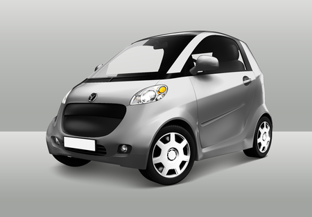 Side view of a silver microcar  in 3D Reklamní fotografie