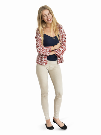 Cheerful blond woman in a beige pant character isolated on a white background