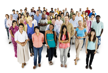 Group of diverse people mockup