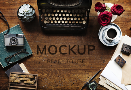 Aerial view of an authors desk mockup Stock Photo