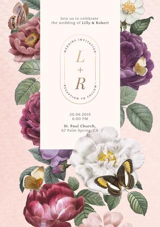 Floral frame on a pink paper textured background illustration Banco de Imagens
