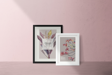 Frame mockup on a pink wall