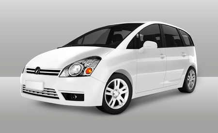 Vue latérale d'un minivan blanc en 3D Banque d'images