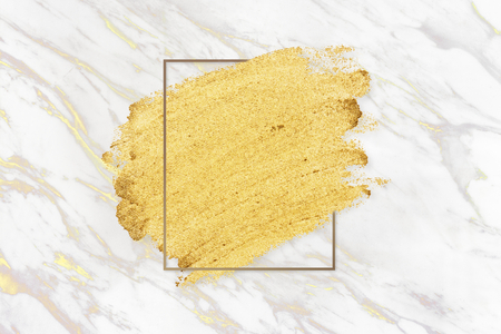 Gold paint with a golden rectangle frame on a white marble background illustration Stock fotó