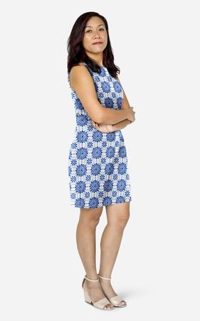 Happy woman wearing a dress mockup
