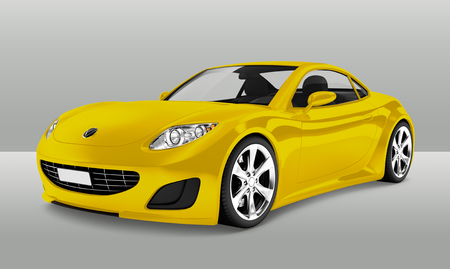 Side view of a yellow sports car in 3D Stock fotó