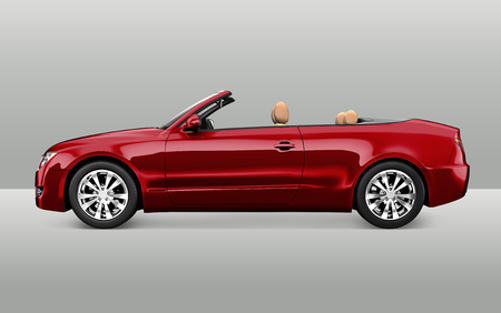 Side view of a red convertible in 3D Standard-Bild - 122425551