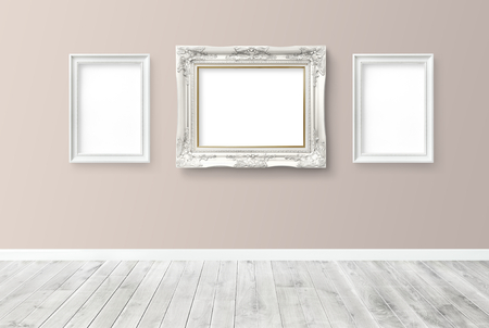 Baroque frame mockup against a wall