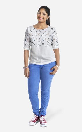 Happy woman wearing a t-shirt mockup