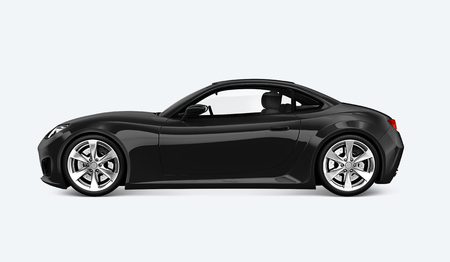 Side view of a black sports car in 3D