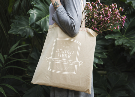 Design space on tote bag mockup