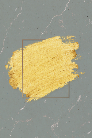 Gold paint with a golden rectangle frame on a greenish gray marble background illustration