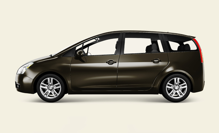 Side view of a bronze minivan in 3D Reklamní fotografie