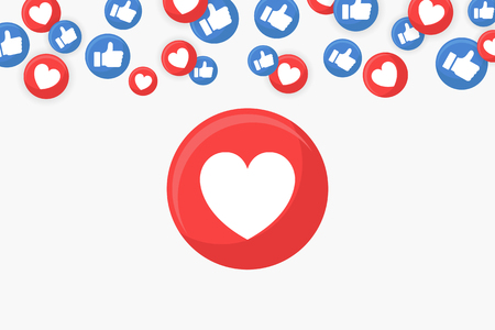 Heart icon on a social media themed border background vector