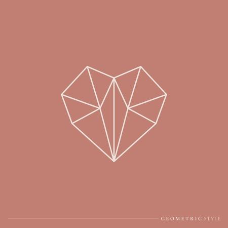 White geometric style heart vector