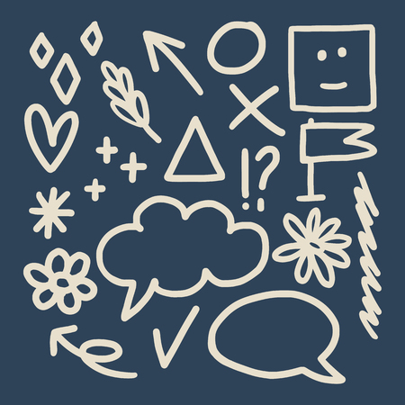Messy doodles and scribbles design element vectors 일러스트