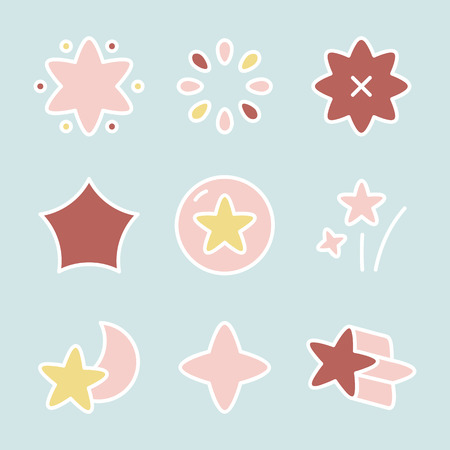 Colorful star shape icon collection vectors