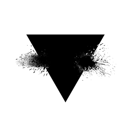 Triangle shaped element with ink splashes vector 向量圖像