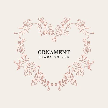 Vintage floral heart ornament frame vector  イラスト・ベクター素材