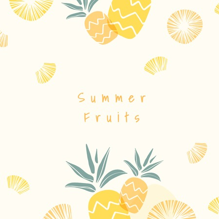 Pineapple patterned background with design space vector