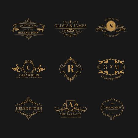 Vintage baroque badge design set