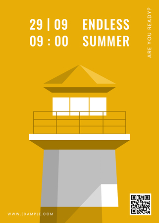 Lighthouse on a yellow background vector