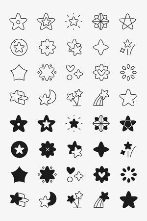 Black star shape icon collection vectors Illustration