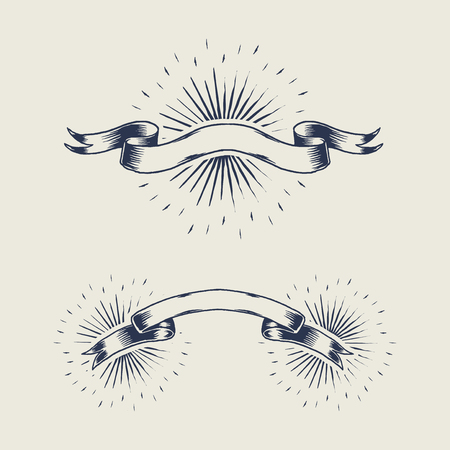 Old school ribbon banner vectors collection