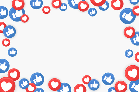 Thumbs up and heart icons border on a white background vector