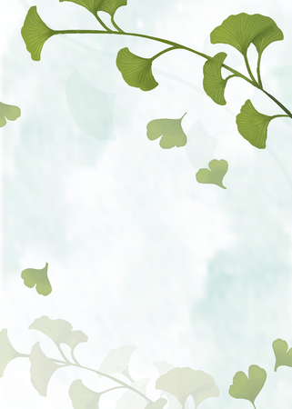 Green ginkgo leaf framed background vector