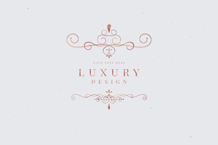 Rose gold luxury logo design vector