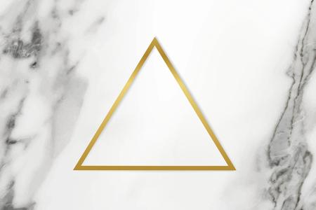 Golden framed triangle on a marble textured vector