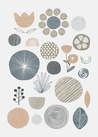 Natural patterned doodle background vector Ilustrace