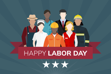 Diverse occupation celebrating labor day vector