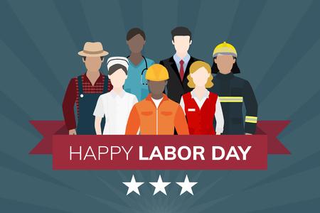 Occupation diversifiée célébrant le vecteur de la fête du travail